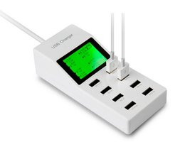 Wholesale Mobile Home Screens - High speed LED 8-Port Home Wall Charger Adaptor with LCD Screen Display AC To USB power socket Station For Mobile phone tablet