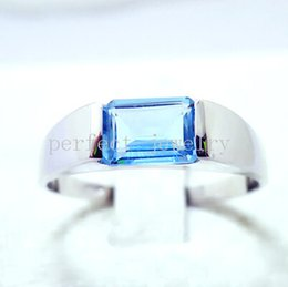 Wholesale Topaz Gemstone Men Rings - Topaz ring Men ring Natural real blue topaz ring 925 sterling silver rings Free shipping Fine jewelry 1.25ct gem #1703003