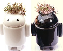 Wholesale Robot Miniature - Andrews robot DIY strange new ceramics potted miniature potted grass doll factory outlets