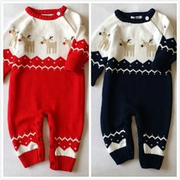 Wholesale Toddler Winter One Piece - 2017 Christmas Jumpsuits Clothes Knitted Sweater Baby Newborn Deer Knit One-piece Rompers Infants Toddlers Cotton Onesies Clothes Jumpsuits