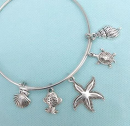 Wholesale wholesale seashells - Seashell Starfish Fish Turtle Conch Charm Expandable Wire Bangles Vintage Silver Cuff Bangles For Women Jewelry Fashion Couple Accessories