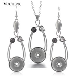 Wholesale Stainless Steel Necklace Charm Set - NOOSA Ginger Snap Jewelry Set Water Drop Pendant Charm Necklace and Earring with Stainless Steel Chain NN-124