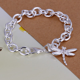 Wholesale Thick Bracelet Silver - Hot sale gift 925 silver Dragonfly shrimp buckle thick arms DFMCH282, Brand new fashion 925 sterling silver Chain link bracelets high grade