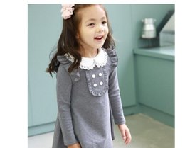 Wholesale Korean Doll Girl - 2016 spring autumn new arrival cotton girl korean clothes doll collar long sleeved casual girls A-line mini dress kids clothing