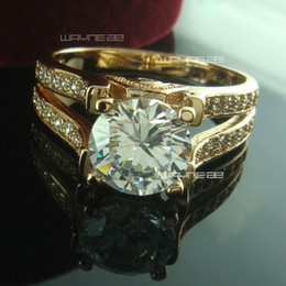 Wholesale Gold Engagement Rings Swarovski - R190- Women 18K 18ct Gold Filled Swarovski Crystal Wedding Ring Sz6-8