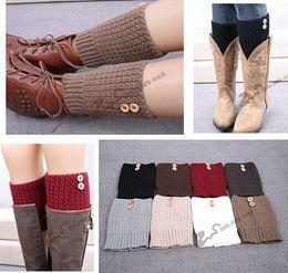 Wholesale Women Feet Cuffs - Multicolors Winter Leg Warmers 2015 Women Boot Cuff Sawtooth Button Legwarmers Knitted Leg Warmers Foot Socks Boot Cuff Knit Leg Warmer