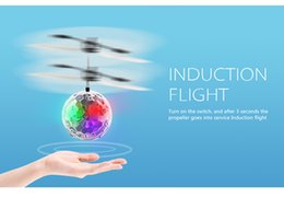 Wholesale Fly Brushes - kids birthday gifts RC hovering mini aircraft infrared induction flying crystal ball with colorful light flying ball