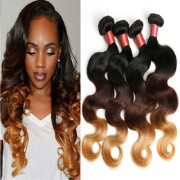 Wholesale Brazilian Tight Curly Weave - 4Bundles 1B 4 27 Brazillian Hair Body Wave Blonde Human Hair Weave Ombre Hair 6A Brizalian Human Hair Tight Curly Hair Weave Wholesale