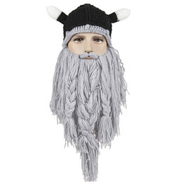 Wholesale Beanie Hat Pirate - Funny Tassel Big Beard Knitted Caps Mens Fashion Winter Warm Whiskers Pirate Beanie Handmade Big Hats Hip Hop Style K793
