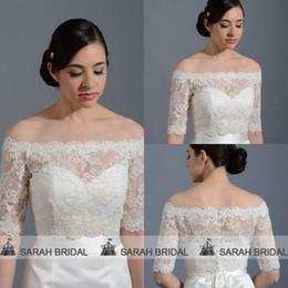 Wholesale Shrug Ivory Wedding Dress - 2015 Hot Sale Off The Shoulder Lace Bridal Jackets Coats Wraps Shawl Shrug Bolero Capes For Wedding Dresses Custom Made PJ015