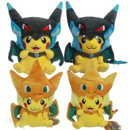 Wholesale Mega Cartoons - Poke plush Mega Pikachu Cosplay X Charizard Brinquedo Plush Toys 13inch 35cm Cartoon Plush Toys doll