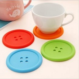 Wholesale Silicone Rubber Coaster - Cute Colorful Silicone Button Cup Cushion Holder Drink Tableware Coaster Mat Pads Free Shipping