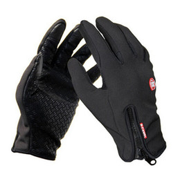 Wholesale Waterproof Touch Screen Gloves - Bicycle Gloves Windstopper Waterproof Gloves Black Riding Glove Motorcycle Gloves Touch Screen Black Full Finger Free Shipping