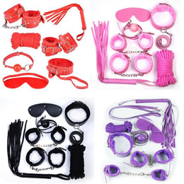 Wholesale Whipping Rope - Bondages 7Pcs set Bondage Kit Set Fetish BDSM Roleplay Handcuffs Whip Rope Blindfold Ball Gag Black Red Pink Purple Slave Bondage Kit