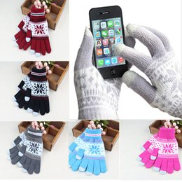 Wholesale Wool Ipad - Knit Wool Touch Gloves Comfortable Warm for iPhone Touch Screen Gloves for iPad Smartphone as Great Gift 50pcs up