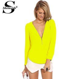 Wholesale Blouse Neon Women - 1510 Sheinside Fashion Woman Office Fall Clothing Female Formal Brand Tops Neon Yellow V Neck Long Sleeve Zipper Chiffon Blouse