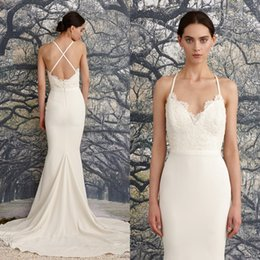 Wholesale Inexpensive Lace Bridal Gowns - 2016 New Arrival Mermaid Wedding Dresses Halter Spaghetti Straps Sexy Criss Cross Back Bridal Gowns with Sweep Train and Sash Inexpensive