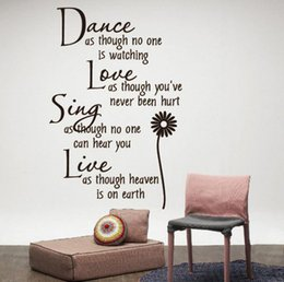 Wholesale Dance Words Wall Decals - Dance Love Sing Live Word Wall Sticker Art Decals Wall Home Decor Vinyl Window Decors DIY Live Quote Vinyl Decal Removable Retail 60*40cm