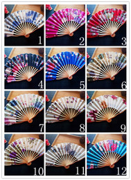 Wholesale Hand Hold Fans - 21cm Portable Japanese Style Satin Fabric Ladies Hand Held Folding Fan Crooked Bamboo Fan Party Favor wen4784