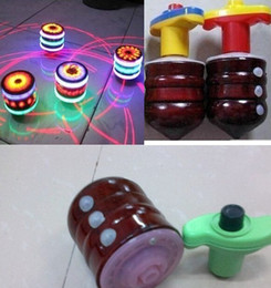 Wholesale Wood Spinning Toy Tops - LED flash wood gyro music light-emitting toy spinning top peg-top for baby novelty classic toy kids Toys gifts Drop Shipping