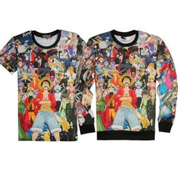 Wholesale One Piece Dragon Ball - Harajuku Anime Hoodies Men Women T-shirt One Piece Naruto Dragon Ball Death Note Print Hip Hop 3D Sweatshirts Top