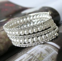 Wholesale Memory Wire Bangle - Silver Plated 5 Rows Pearl and Rhinestone Crystal Memory Wire Bridal Bracelet Bangle For Wedding Party