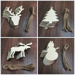Wholesale C Cashmere - Christmas Tree Pendant Set Woodiness Snowman Shape Decorations Arts And Crafts For Festive Party Ornament Supplies Many Styles 4jw C