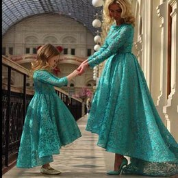 Wholesale Pageant Dresses Adults - 2015 Adults Evening Dresses Lace Appliqued Hi-lo Crew Neckline Long Sleeves Pageant Occasion Gowns For Mother Daughter Matching Dresses