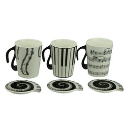 Wholesale Music Mugs - Wholesale-Music Cup Mug Staff Notes Piano Keyboard Ceramic Cup Porcelain Mug Coffee Cup with Cover Creative gift