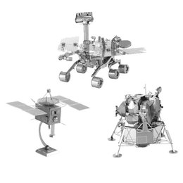 Wholesale Space Model Toys - 3D Metal Puzzles DIY Model Space machine robot Man-made satellite Mars rover Lunar module Children Jigsaws toys Present Gift