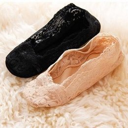 Wholesale Sexy Low Cut Socks - Wholesale-New Socks Women Sock Slippers Sexy Lace Socks Silicone Non-Slip Invisible Socks Low Cut Cosy Socks for Ladies and Girls 1Pair