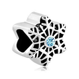 Wholesale Wholesale Snowflake Charms Free Shipping - Merry Christmas Rhodium Plating Snowflake European Charm Christmas Bead Wholesale Free Shipping For Pandora DIY Bracelet