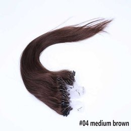 Wholesale 28 Inch Micro Loop Extensions - Hot Selling Remy Real Loop Hair 18-28 Inch Micro Ring Hair Extensions #04 Medium Brown 100g lot for Brazilian Hair Human Hair