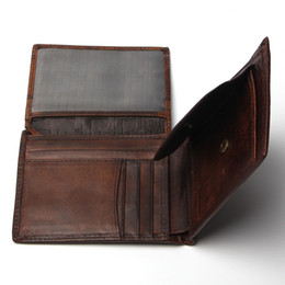 Wholesale Print Small Photos - Small Vintage Wallet Brand High Quality Vintage Designer 100% Genuine Crazy Horse Cowhide Leather Men Short Coin Purse Wallet