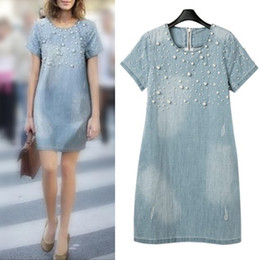 Wholesale Women S Blue Jean Dresses - Summer Dress 2015 Spring New Women Jean Dress Loose Short-Sleeve Beaded Denim Dresses Brand Vestidos Female Plus Size ZX*E3365