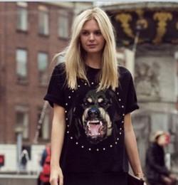 Wholesale Dog Shirt Woman - Wholesale-East Knitting FH-206 Brand Dog head Print shirt Women Summer T shirt MEN fashion Tops Short Sleeve t shirt