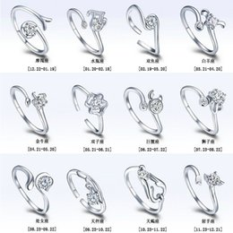 Wholesale Zodiac Rings - Newest 925 sterling silver zodiac opening ring wholesale LEO horoscope women ring with crystal rhinestone