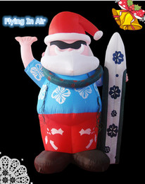 Wholesale Outdoor Inflatables Christmas Decorations - Multi-size Surfing Inflatable Santa Claus for Outdoor Indoor Christmas Decoration