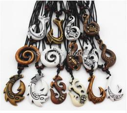 Wholesale Maori Pendants - 60pcs Mixed Hawaiian Jewelry Imitation Bone Carved NZ Maori Fish Hook Pendant Necklace Choker Amulet Gift YN542