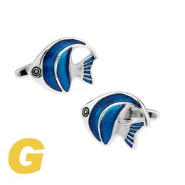 Wholesale rare fish - High Quality New Classic Silver Copper Mens Wedding Cufflinks Novelty Rare Fancy Fish & Clean Cloth 330033