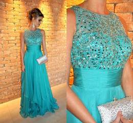 Wholesale Turquoise Empire Dress - 2016 New Arrival Turquoise Crew Neck A-line Evening Dresses Crew Neck Beaded Ruched Chiffon A-line Prom Gowns BO9345