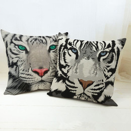 Wholesale Black White Tiger Bedding - 2016 Hot Sale Pillow Cover Pure Cotton Linen Home Bed Decorative Vintage Throw Pillow Cases White Tiger LP012202