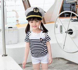 Wholesale Navy White Striped - kids navy striped shirt and pants 2015 New summer Children Clothing Set Short Sleeve Striped Girl T Shirt White Shorts Kids Twinset for girl