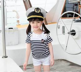 Wholesale Navy Children Shorts - kids navy striped shirt and pants 2015 New summer Children Clothing Set Short Sleeve Striped Girl T Shirt White Shorts Kids Twinset for girl