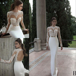 Wholesale Long Sheer Dresses Cheap - 2017 Vestido De Noiva Berta Mermaid Wedding Dresses Cheap Spring Summer High Neck Long Sleeve Sheer Lace Backless Bridal Gowns Under 100
