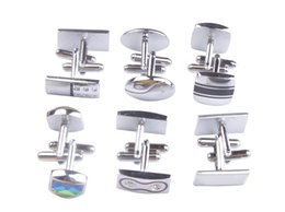 Wholesale Cuff Links Wholesalers - 12 Sets of Fashion Mens Cufflinks Silver Gold Cuff Links