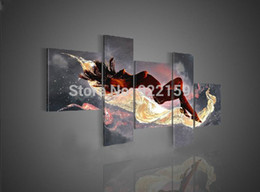Wholesale Modern Nude Oil Paintings - free shipping handpainted 5 piece modern abstract decorative oil painting on canvas wall art nude for living room as unique gift