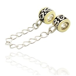 Wholesale Gold Plated Safety Chain - Wholesale Large Hole Metal Slide Bead 2 Tones Gold Silver Plated European Safety Chain link Charm Spacer Fit Pandora Bracelet