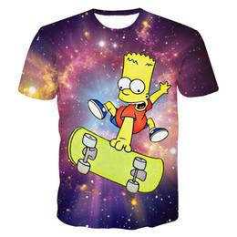 Wholesale Cheap Galaxy Clothes - Cheap women men hiphop clothes summer short sleeve 3d t-shirt harajuku the Simpson print cartoon t shirts top Galaxy tshirt tee