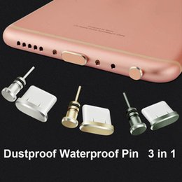 Wholesale Micro Headphone Jack - Universal 3.5mm Anti-dust Plug Dustproof Headphone Tpye-C Micro-USB Lightning Dock Plug For Apple iPhone 7 6 Plus Samsung Andriod Smartphone